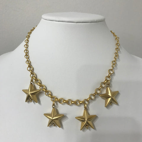 Gold Matte Stars Necklace