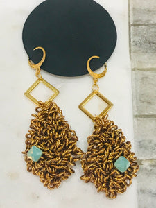 Metalic Antique Gold Amazonite Hoop Earrings