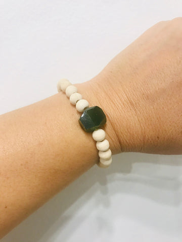 Wood and Stone Bracelets - green