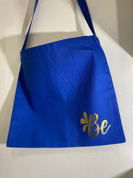 "Messenger Tote Bag Blue ""B"""