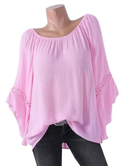 Solid Color Word Collar Bat Sleeve T-Shirt