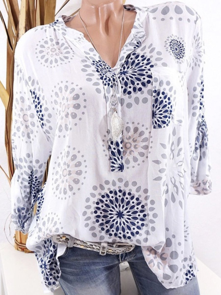 Casual V-Neck Geometric Printed Blouse