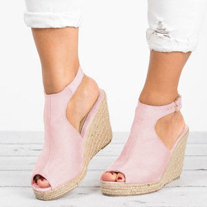 Women Wedge Espadrille Suede Peep Toe Ankle Strap Slingback Sandals