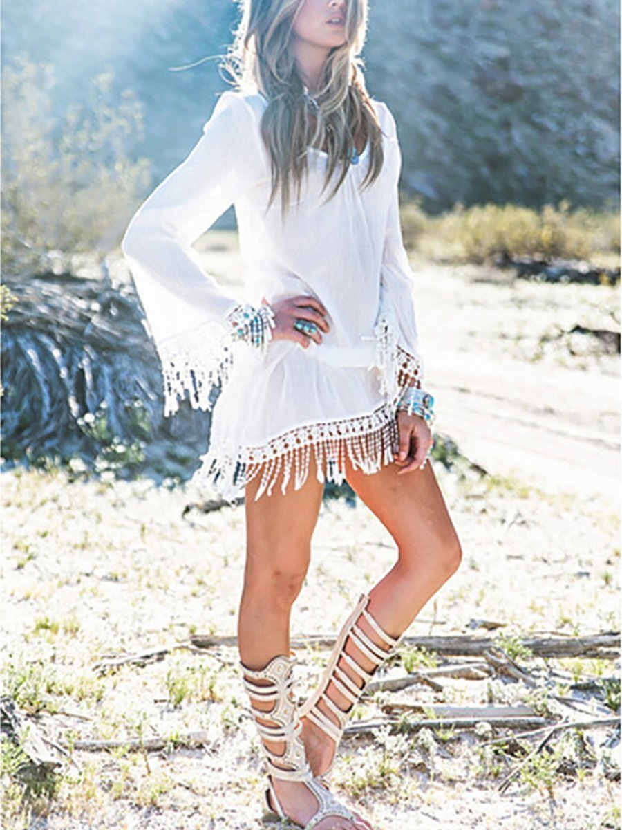 Bohemia Hollow Lace Tassel Sleeves Dress