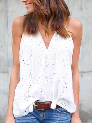 Solid Color Sleeveless Vest with Embroidery
