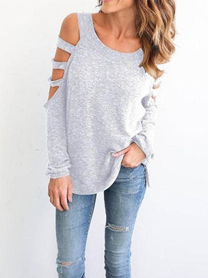 Cold Shoulder Spaghetti Straps Hollow Out Tee
