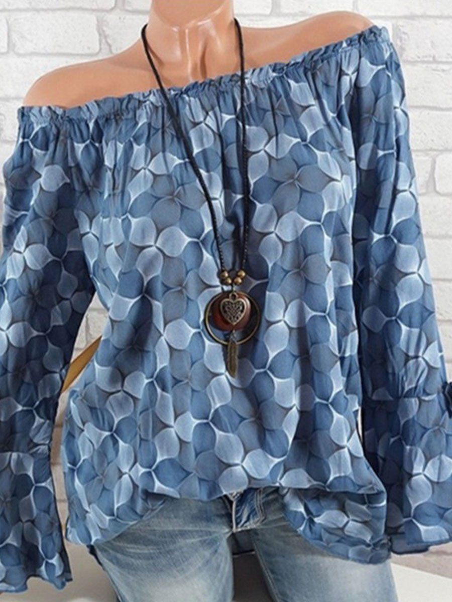 Off Shoulder Floral Printed Sleeve Long Sleeve Blouses