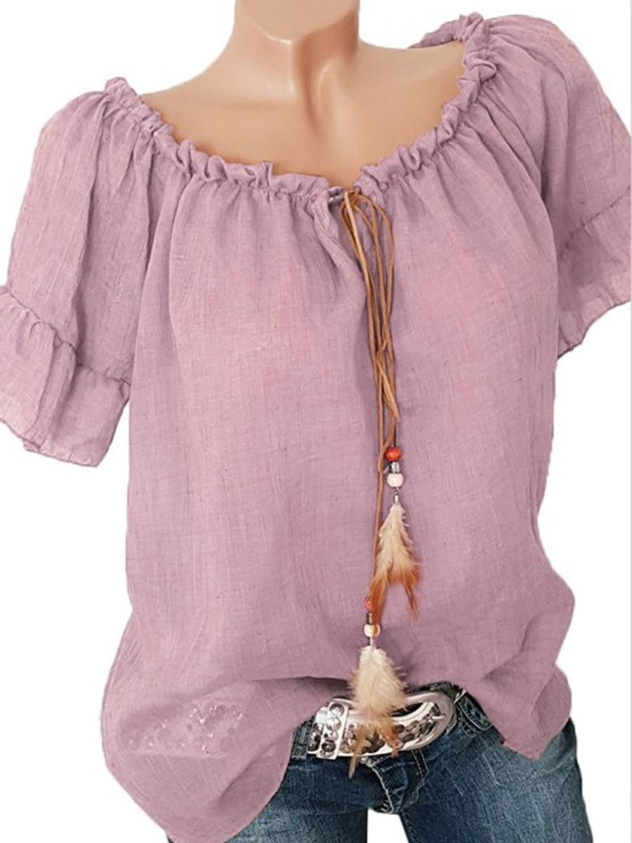 Women Off Shoulder Plain Bell Sleeve Short Sleeve Blouses