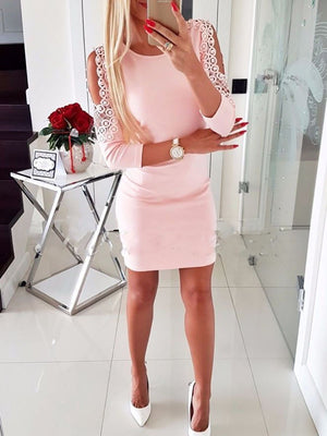 Round Neck  Decorative Lace  Plain  Long Sleeve Bodycon Dresses
