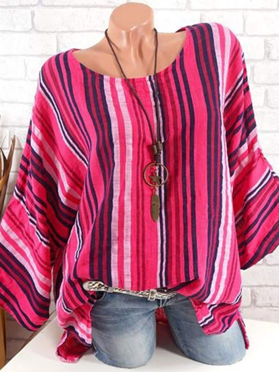 Round Neck  Loose Fitting  Stripes Blouses