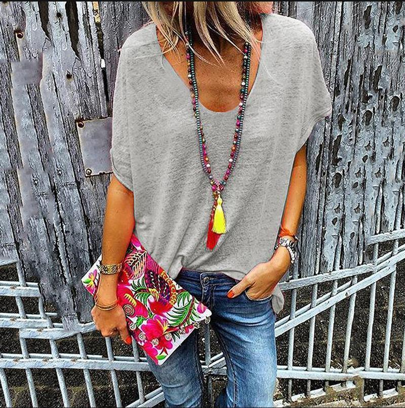 Daily Solid Color V Collar Short Sleeves Loose T-Shirt