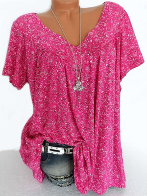 V Neck  Loose Floral Printed Blouse
