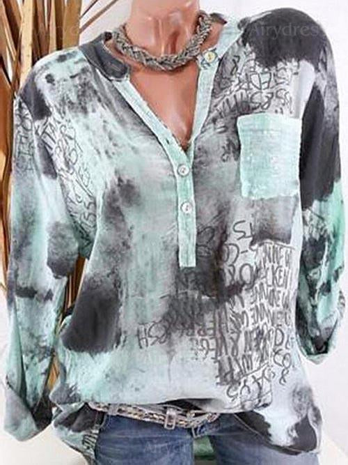 Square Neck Decorative Button Floral Printed Blouses