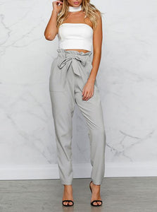 Fashion Ruffle Waist Pencil Pants with Belt