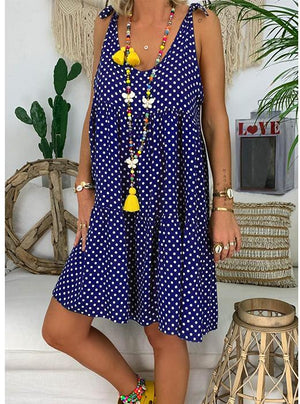 Fashionable Sleeveless Wave Point Printing Vacation Dress