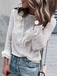 White Flower Lace Round Neck Back Button Top