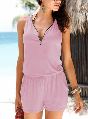 Sleeveless V-neck zipper casual romper