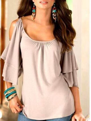 Frilly Scoop Neck Cut Out Shoulder Top