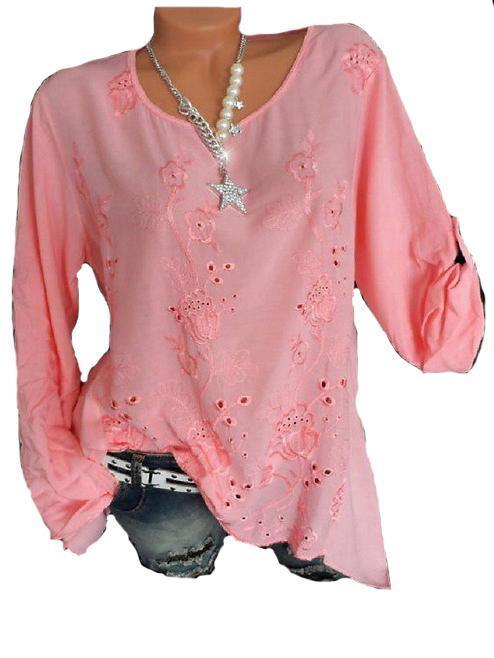 Solid Color Flower Embroidery Long Sleeve T-Shirt