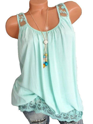 Round Neck Solid Color Lace Sleeveless T-Shirt