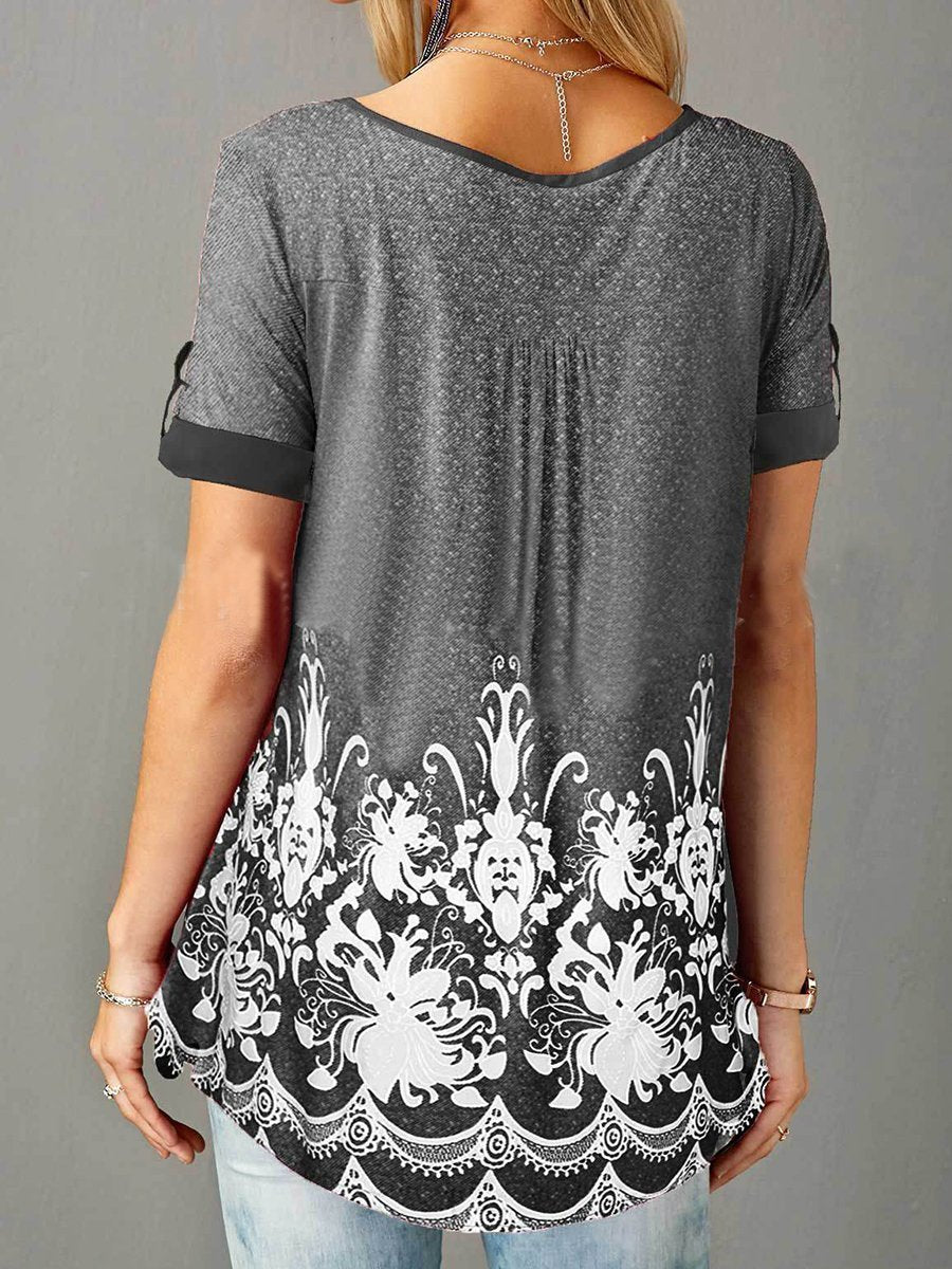 Button Printed Short-Sleeved T-Shirt