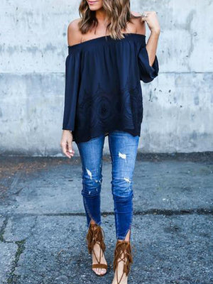 Hooked Flower Openwork Shoulder Strap Lace Long Sleeve T-Shirt