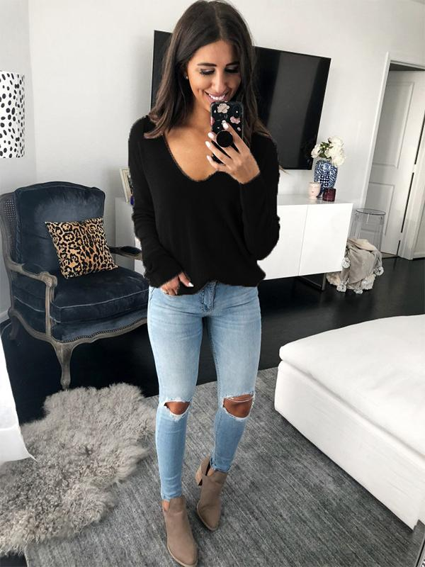 Charming V-neck loose sweater