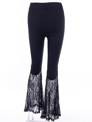 Lace-up hollowed-out embroidered bell-bottoms