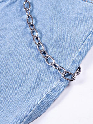 Chains decoration broken hole rough selvedge washing process denim pants