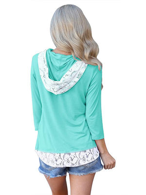 Hooded drawstring lace splicing long sleeve  Hoodie