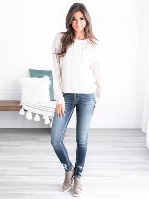Round collar twisted pattern crochet sweater
