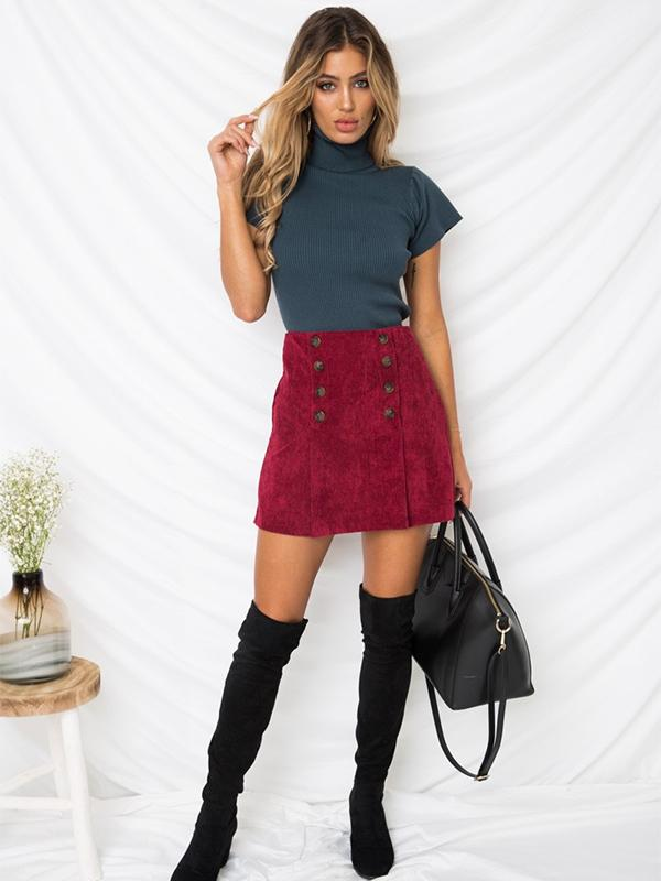 corduroy double-breasted skirt