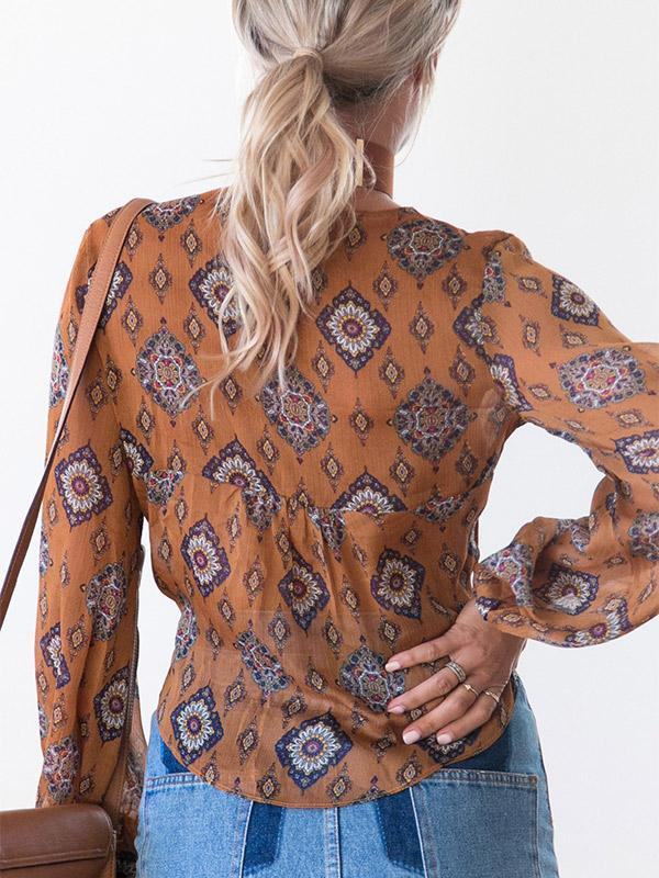 Sexy printing lace-up long sleeve chiffon Crop Top