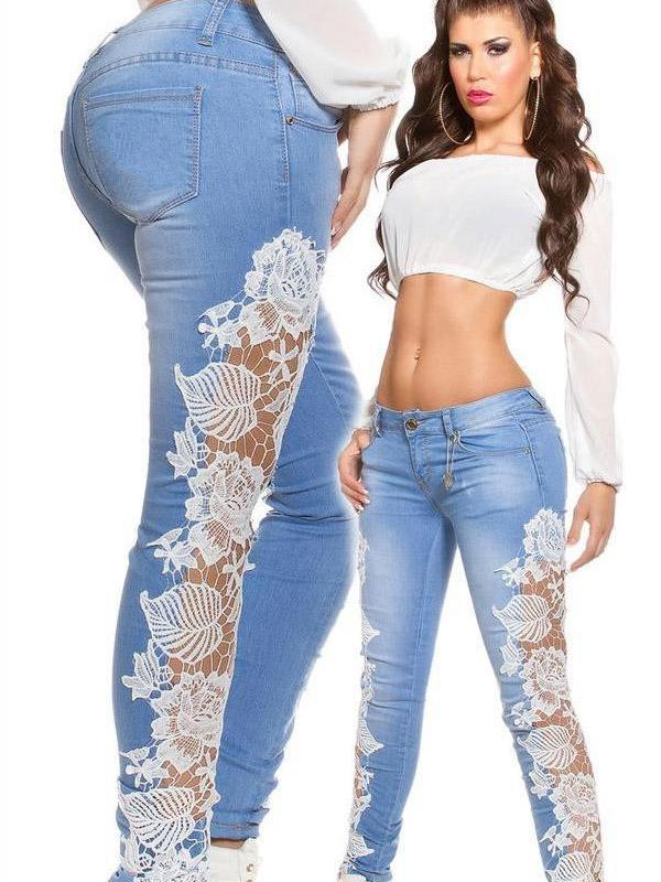 Sexy lace hollowed-out jeans