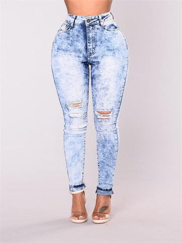 Broken hole distressing high-waisted elastic pencil jeans