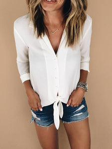 V-neck lace-up long sleeve blouse