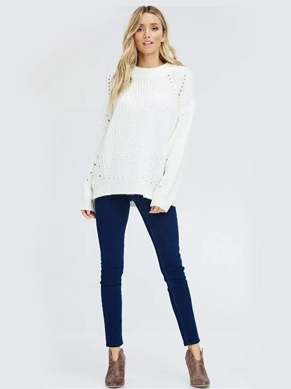 Loose round collar pullover crochet sweater