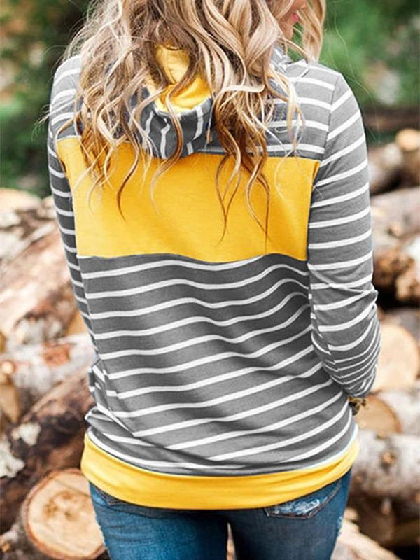 Color block stripes hooded pocket pullover hoodie