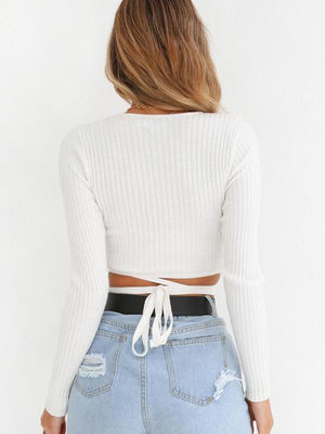 Charming V-neck lace-up rib sweater