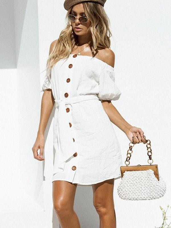 Sexy backless couplet button short-sleeved dress