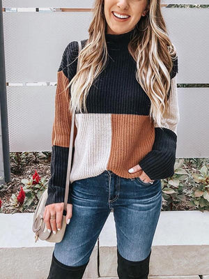 High-waisted rib color blocking sweater