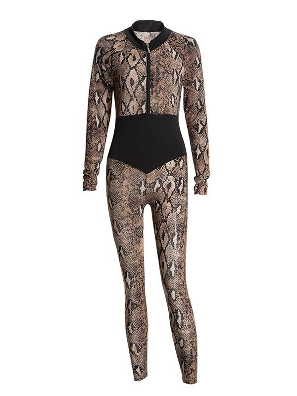 latest occidental style sexy slim-fit snakeskin splicing  jumpsuit