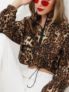 Long Sleeves Leopard Print Skirted Coat
