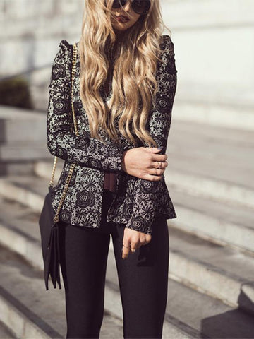 Lace zipper slit cross jacket