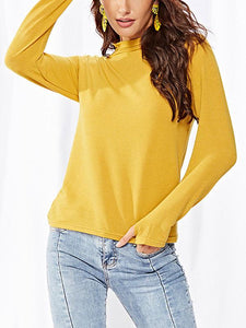 high-necked knit T-shirt