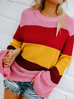 Color blocking rainbow strap Sweaters