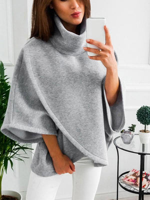 Heap collar cross irregular loose hoodie