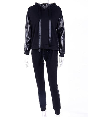 Hooded drawstring splicing sport suit