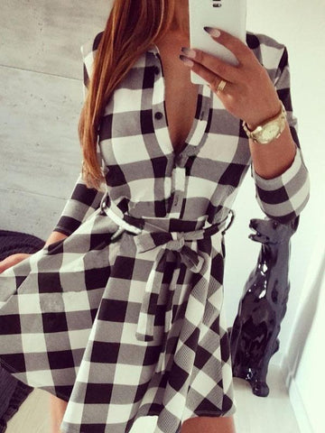 Long sleeve plaid tie blouse dress