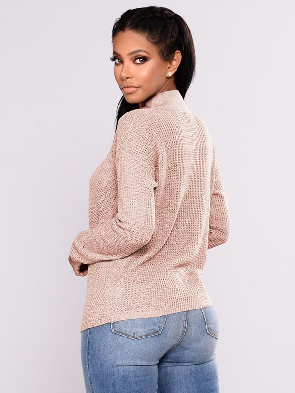 V-collar cross hollowed-out drop shoulder sweater